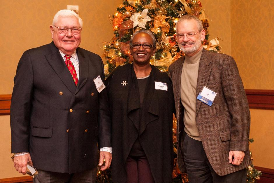 The Boje & Price Award for Outstanding Volunteerism recipient, Richard Boje (left). Pictured with Stephanie M. Bray and Jim Shetler.